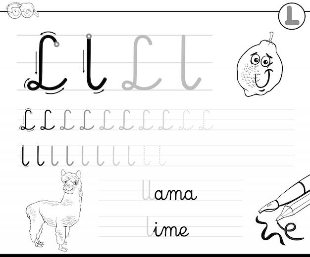 Apprendre à écrire lettre l classeur pour les enfants