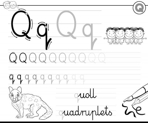 Apprendre à écrire la lettre q classeur pour les enfants