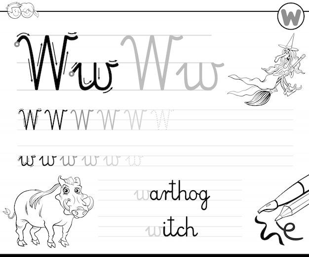 Apprendre à écrire la lettre w classeur pour les enfants