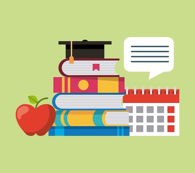 Apprendre l'éducation livres empilés