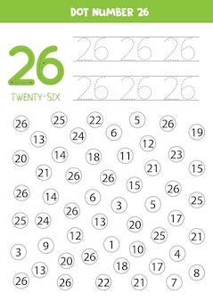 Apprendre les nombres avec les enfants. numéro vingt-six. dot tous les nombres 26. jeu de mathématiques pour les enfants.