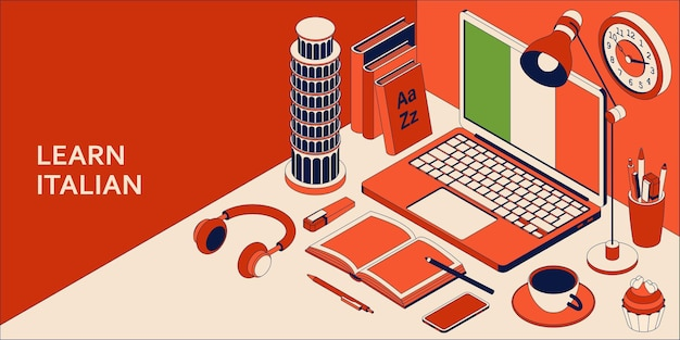 Apprenez le concept isométrique de la langue italienne avec un ordinateur portable ouvert, des livres, des écouteurs et du café.