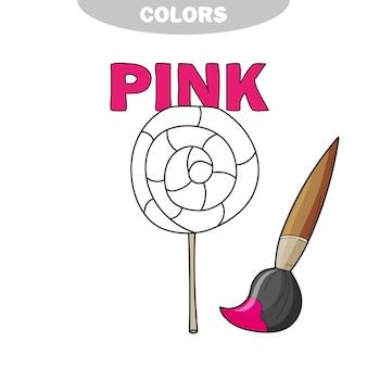 Apprenez les couleurs - rose. sucette de bonbons cartoon noir et blanc dessiné à main levée - livre de coloriage.