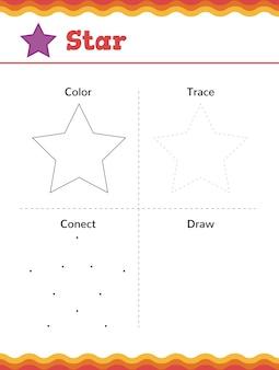 Apprenez les formes et les figures géométriques. feuille de travail préscolaire ou maternelle. illustration vectorielle
