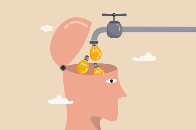Apprenez de nouvelles compétences, créez de nouvelles idées ou des solutions innovantes, de l'éducation et des connaissances ou de l'imagination et de la créativité pour penser comme un concept de génie, des idées d'ampoules lumineuses coulent du tuyau dans la tête humaine.