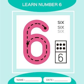 Apprenez le numéro 6 six. jeu éducatif pour enfants. jeu de comptage.