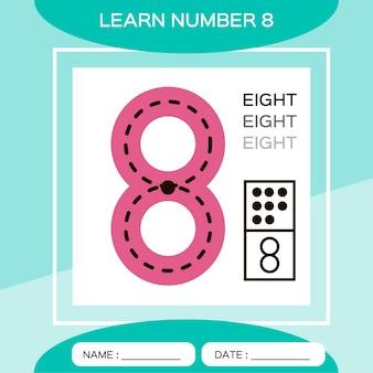 Apprenez le numéro 8. huit. jeu éducatif pour enfants. jeu de comptage.