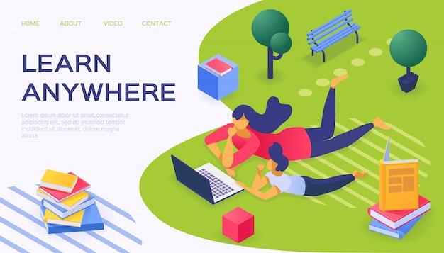 Apprenez partout avec un ordinateur portable, illustration. les personnages utilisent la technologie internet pour apprendre le concept en ligne.