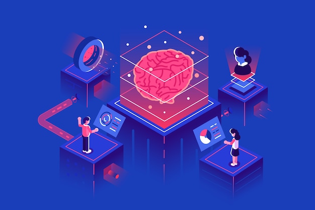 Apprentissage automatique, intelligence artificielle, ia, apprentissage en profondeur du réseau neuronal blockchain illustration