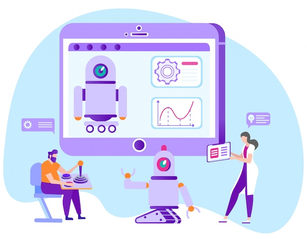 Apprentissage à distance de contrôle de robot. e-learning. nouvelles technologies.