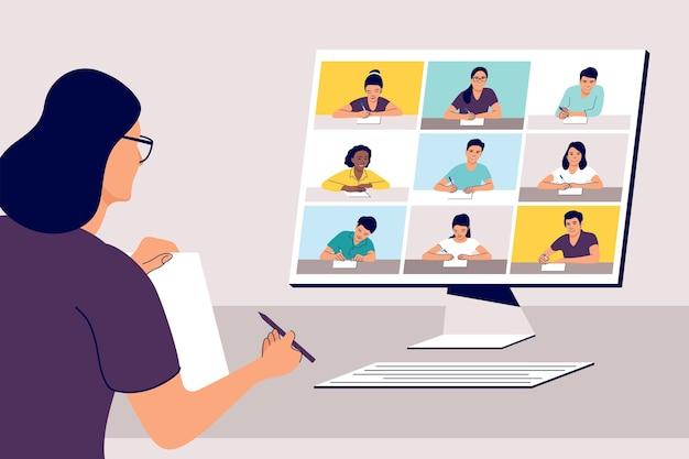 Apprentissage à distance en ligne. enseignant avec ordinateur.