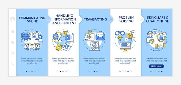 Apprentissage du modèle vectoriel d'intégration des compétences numériques. site web mobile réactif avec des icônes. écrans de présentation de page web en 5 étapes. concept de couleur de numérisation avec illustrations linéaires