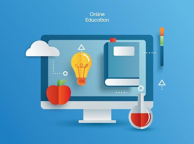 Apprentissage de l'éducation en ligne sur ordinateur. apprendre à la maison avec le concept de distanciation sociale.