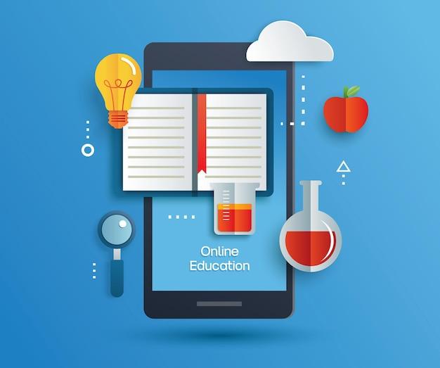 Apprentissage de l'éducation en ligne sur téléphone mobile. apprendre à la maison avec le concept de distanciation sociale.