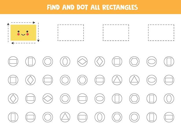 Apprentissage des formes. trouvez et pointez tous les rectangles.