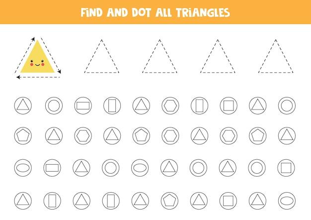 Apprentissage des formes. trouvez et pointez tous les triangles.