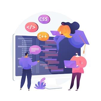Apprentissage des langages de programmation. cours de codage de logiciels, cours de développement de sites web, rédaction de scripts. personnages de dessins animés de programmeurs informatiques.