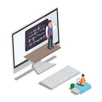 Apprentissage en ligne concept vector avec élève enseignant
