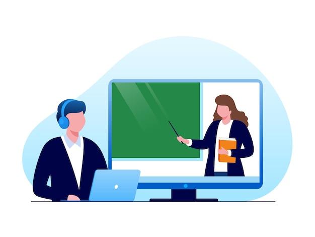 Apprentissage en ligne ou elearning illustration vectorielle à plat pour la bannière