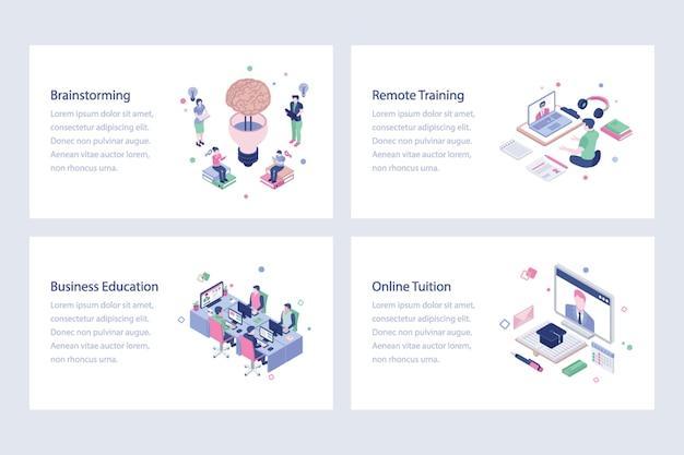 Apprentissage en ligne illustrations vectorielles design