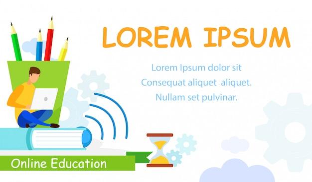 Apprentissage en ligne, modèle de bannière web pour étudier
