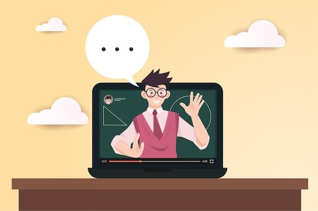 Apprentissage en ligne sur ordinateur portable, illustration design plat