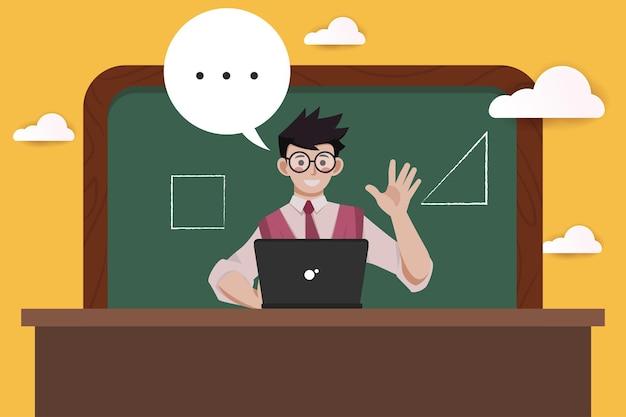 Apprentissage en ligne sur un ordinateur portable à plat