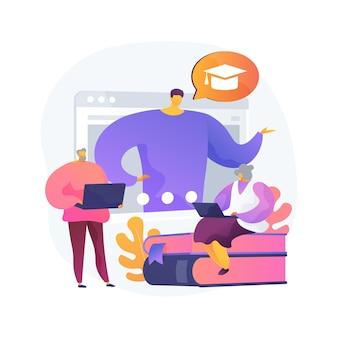 Apprentissage en ligne pour les personnes âgées concept abstrait illustration vectorielle. cours en ligne pour les personnes âgées, formation supplémentaire, programme en ligne gratuit, communauté d'apprentissage, métaphore abstraite de quiz en ligne.