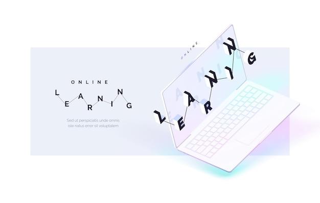 Apprentissage en ligne le processus d'auto-éducation à distance ordinateur portable réaliste avec lettrage à l'écran