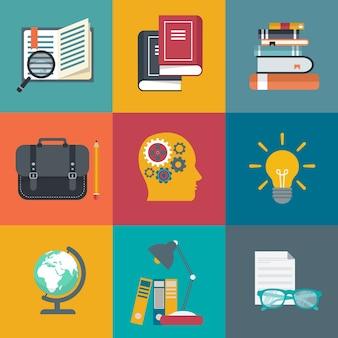 Apprentissage en ligne, tutoriels, icônes de l'éducation professionnelle