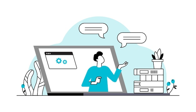 Apprentissage en ligne vecteur étudiants étudiant sur internet regardant une conférence en ligne sur ordinateur