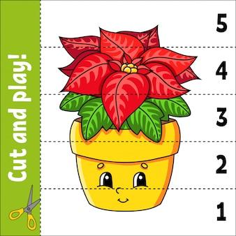 Apprentissage des numéros 1-5. coupez et jouez. fleur de poinsettia. feuille de travail sur l'éducation.