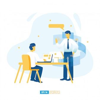 Apprentissage virtuel, formation numérique en ligne, e-learning avec ia, éducation en ligne et illustration de concept de livre électronique