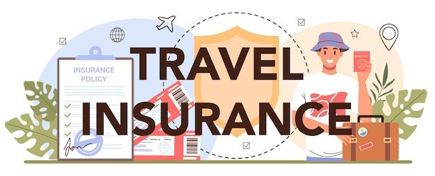 Approbation de la demande de visa d'en-tête typographique d'assurance voyage