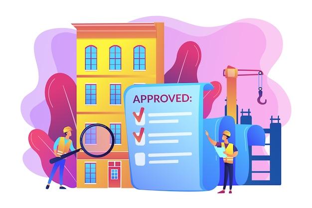 Approbation du projet architectural, contrôle de sécurité. contrôle qualité de la construction, gestion de la qualité de la construction, engagez votre concept de technicien qualité.