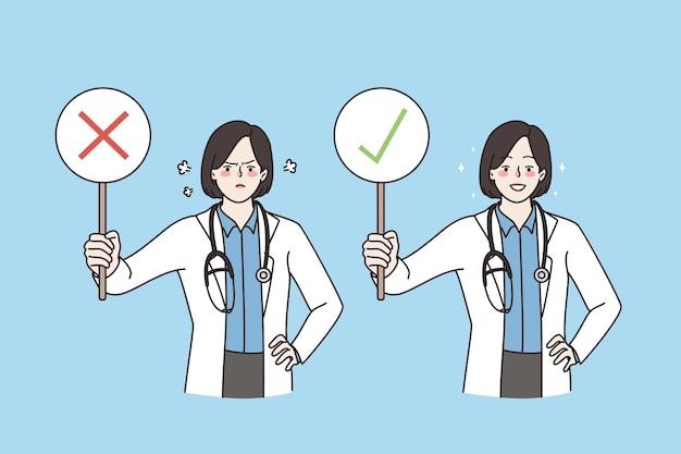 Approbation et refus dans le concept de médecine. jeune homme médecin de sexe masculin heureux souriant avec droit et négatif avec mauvais signe debout tenant en regardant l'illustration vectorielle de la caméra
