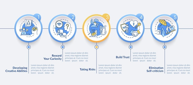 Approche du modèle d'infographie vectorielle de travail. éléments de conception de présentation d'éthique de travail et de leadership. visualisation des données en 5 étapes. diagramme de chronologie de processus. disposition du flux de travail avec des icônes linéaires