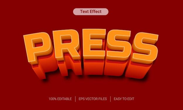 Appuyez avec effet de texte 3d orange longue ombre