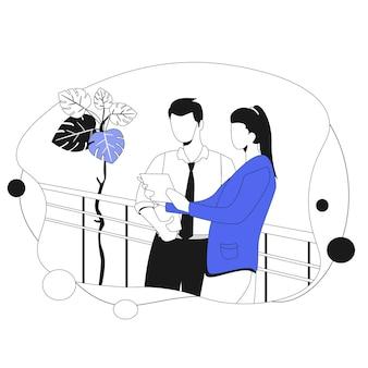 Après les heures d'échanges. illustration d & # 39; affaires dans un style plat