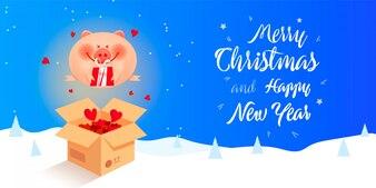 Après la bannière de vente de Noël avec cochon de Santa
