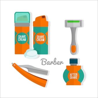 Après le rasage jeu d'icônes plat. rasoir, mousse à raser, icônes de baume après-rasage.