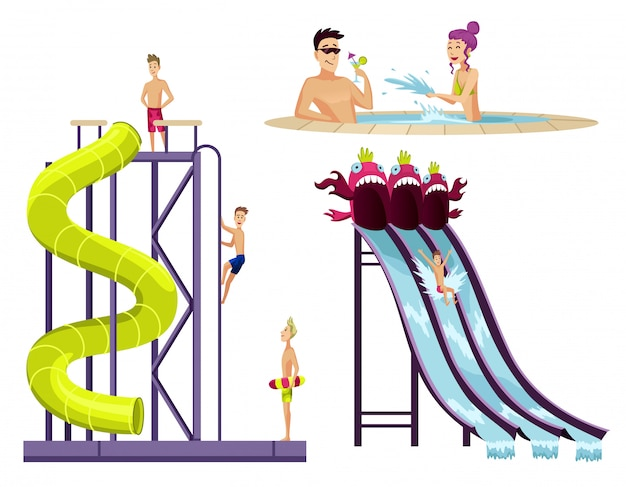 Aquapark coloré ensemble de divers tubes d'eau avec des enfants qui jouent.