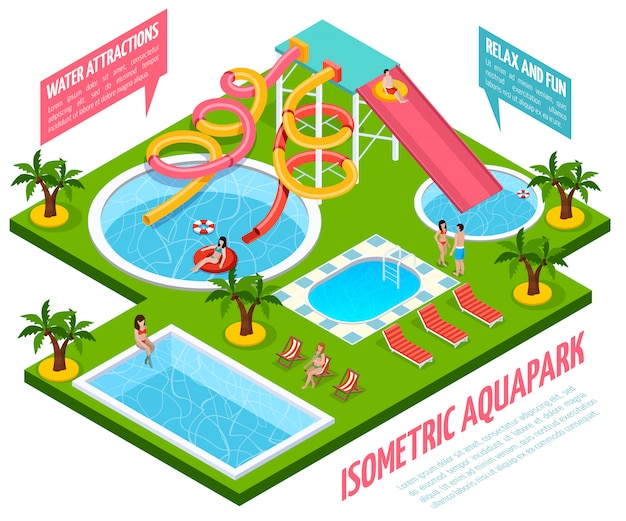 Aquapark isometric composition
