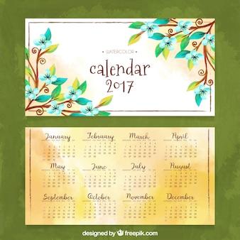 Aquarelle 2017 calendrier avec des fleurs
