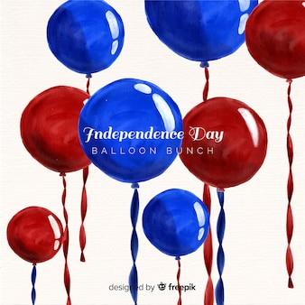 Aquarelle 4 juillet - fond de fête de l'indépendance avec des ballons
