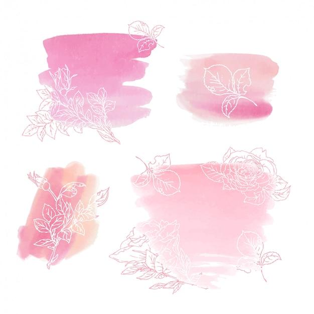Aquarelle abstraite corail de roses. élément d'aquarelle pour la carte.