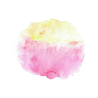 Aquarelle abstraite rose et jaune sur fond blanc.