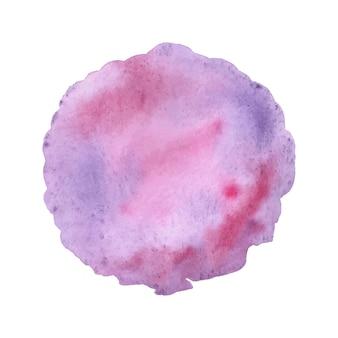 Aquarelle abstraite rose et violet sur fond blanc.