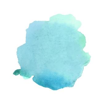 Aquarelle abstraite verte et bleue sur fond blanc.