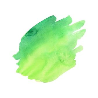 Aquarelle abstraite verte et jaune sur fond blanc.